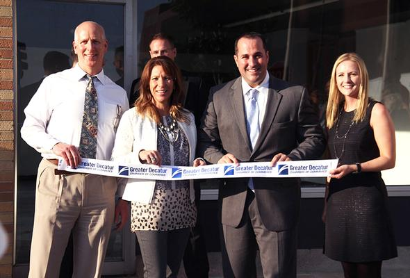Office grand opening ribbon cutting for Chamber of Commerce